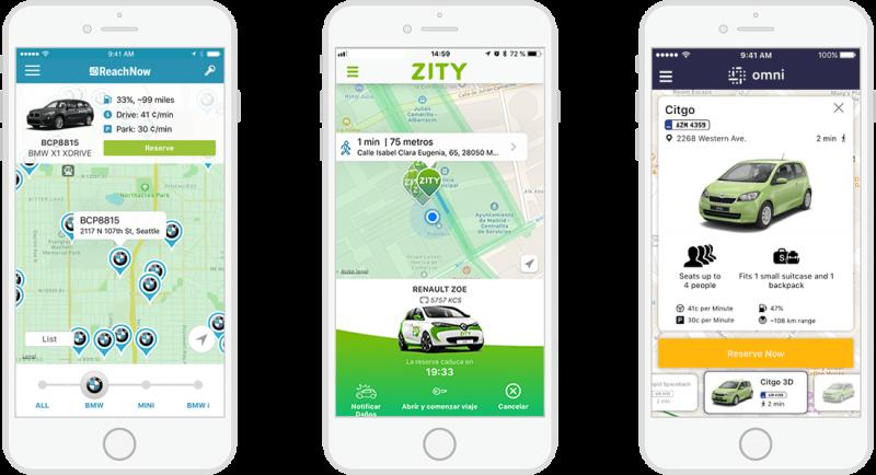 Aplicación de vehículos compartidos Ridecell, aplicación de movilidad Ridecell, aplicación para fabricantes de equipos originales de automoción Ridecell